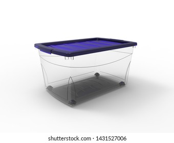 3d rendering of a plastic see through storage box isolated in white background