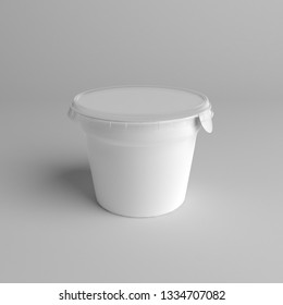 3D rendering Plastic tub with foil lid container for dessert, yogurt, ice cream, sour cream, snack, butter, margarine or cheese, 3d-illustration mockup template.