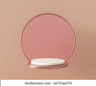 3d rendering podium background mock-up scene. Abstract geometry shape pastel color. Minimal geometric shape. Cosmetic background for product presentation.