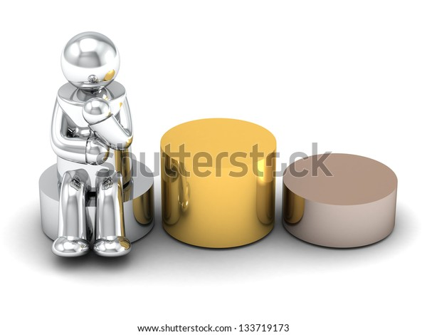 3D rendering podium on white background