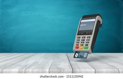 3d rendering of point-of-sale terminal suspended in air above wooden table near blue wall with copy space. Retail customer service. Advertising. Shopping.