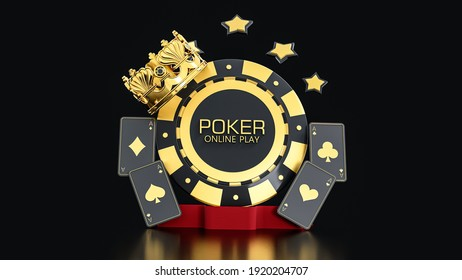 3d Rendering Poker Chip and Plat Cards