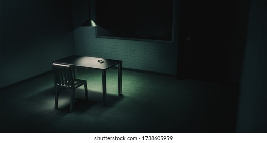 3D rendering of a police innterrogation room with double sided mirror and dramatic lighting / illustration