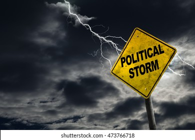 3D rendering of Political Storm sign against a stormy background with lightning and copy space. Conceptual of dirty politics, party politics, election year campaigns, etc.