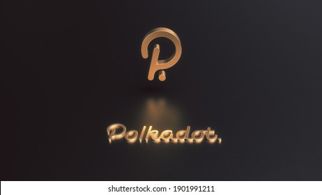 3D Rendering of Polkadot cryptocurrency golden icon