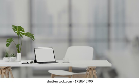 3D rendering, portable workspace with digital tablet, supplies and decorations in living room, 3D illustration