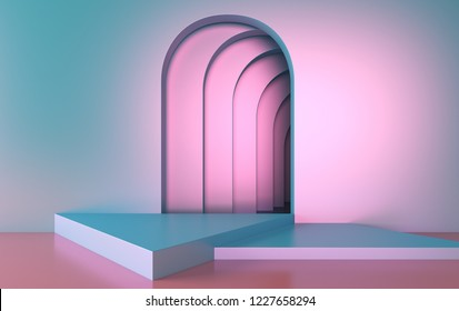 3d rendering portal glowing lines futuristic tunnel. neon lights virtual reality. vibrant magenta cyan spectrum
