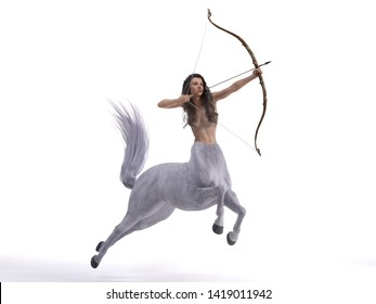 3D Rendering : A portrait of the female centaur, a pinup centaur posing with a bow in her hand as the centaur archer