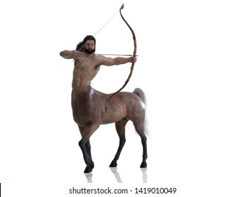 3D Rendering : A portrait of the male centaur, a pinup centaur posing with a bow in his hand as the centaur archer