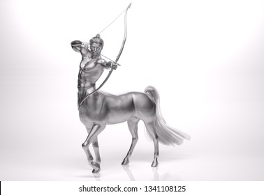 3D Rendering : A portrait of the silver male centaur, a pinup centaur posing with a bow in his hand as the centaur archer