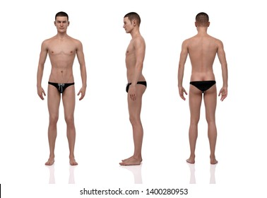 3D Rendering : Portrait of standing male ectomorph (skinny) body type