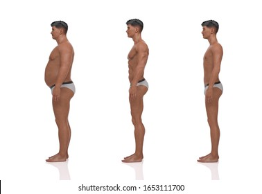 3D Rendering : the portrait of standing male body type : ectomorph (skinny type), mesomorph (muscular type), endomorph(heavy weight type)