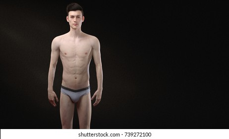 3D Rendering : Portrait of standing male ectomorph (skinny) body type, Front view