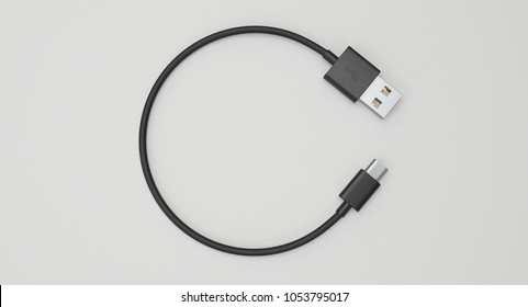 3D rendering - power usb cable with micro-b connector isolated on white background.
