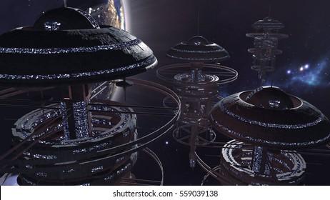 3d rendering. Powerful set of spacestations in futuristic scene