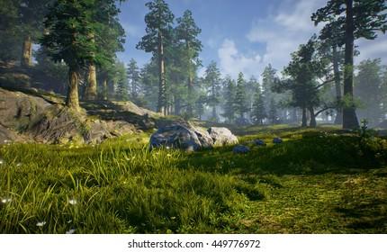 3D rendering of prehistoric Hell Creek/forest.