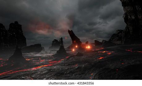 3D rendering of a prehistoric lava environment.
