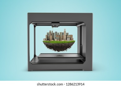 3d rendering of 3d printer with city skyscrapers on piece of earth globe inside on blue background. Ecology and environment. Environmental issues. Digital art.
