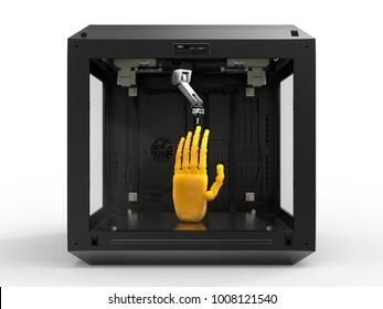 3d rendering 3d printer with resin hand