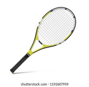 3d rendering of a professional tennis racquet with black and yellow stripes. Tennis gear. Professional sport equipment. Racquet and ball.