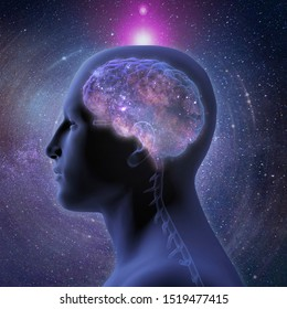 3D Rendering, Profile of Man's Head with Enlightened Human Brain on Starry Background