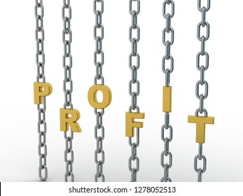 3d rendering Profit connected chain
