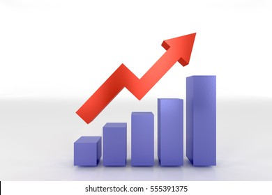 3D rendering of profit going up bar chart