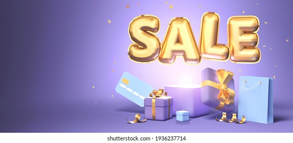 3d rendering of promotion sale with gifts, shopping bag and credit card on purple background. 3d rendering