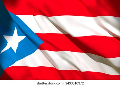 3d rendering of a Puerto Rico national flag waving