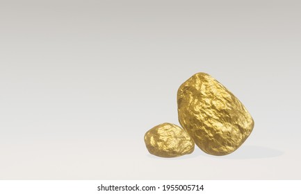 3D rendering. Pure gold nugget from placer mine.