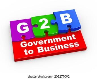 3d rendering of puzzle pieces presentation of g2b - government to business
