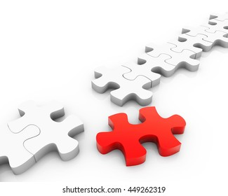 3d Rendering Puzzle pieces, with a red piece free