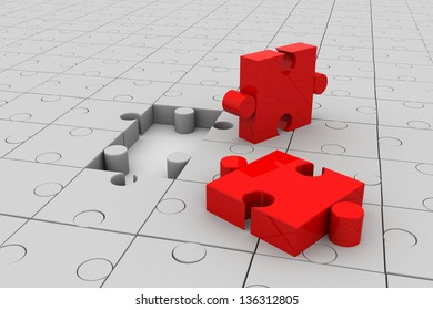 3d rendering of puzzle pieces with two piece lifted up