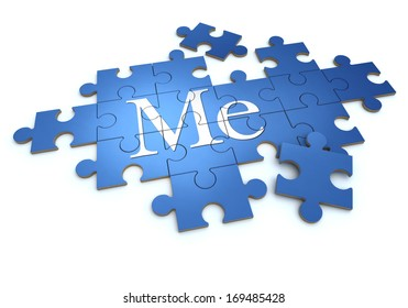 3D rendering of a puzzle with the word me