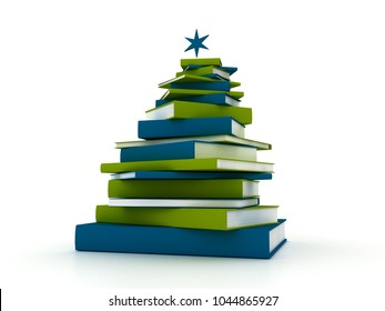 3D rendering Pyramid of Books-Christmas Tree