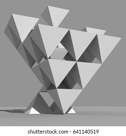 3D rendering of pyramidal structure built of inverted pyramids.