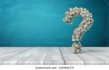 3d rendering of a question sign made of many dollar banknotes hanging above a wooden desk. Where are money. How to get rich. Question of money.