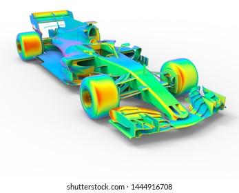 3D rendering - racing car finite element analysis