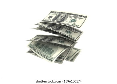 3d rendering, rain concept, one hundred dollar banknotes flying and dropping, isolated on white background.