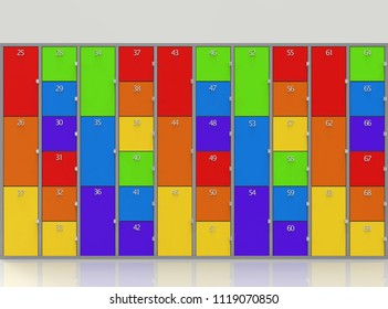 3d rendering. rainbow colorful style lockers wall background.