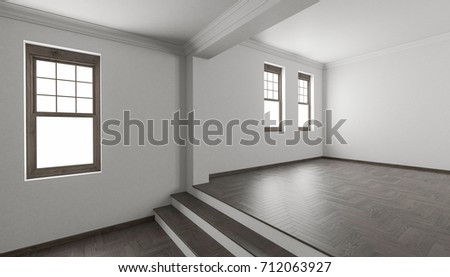 3d Rendering Of Raised Floor Detail With Stairs And Single Hung Windows
