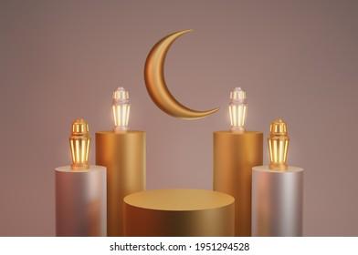 3D rendering, Ramadan Kareem background lantern with podium