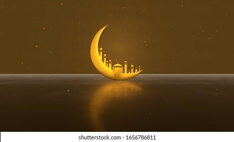 3D-Darstellung, Ramadan Kareem mit goldener Mondmoon-Moschee auf hellgoldenem Hintergrund. Design für Grußkarten, Poster, Banner, Einladung.