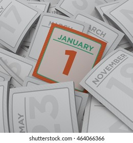 3d rendering random calendar pages january 1