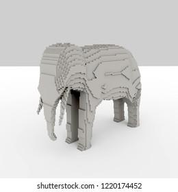 3d rendering of rasterised elephant