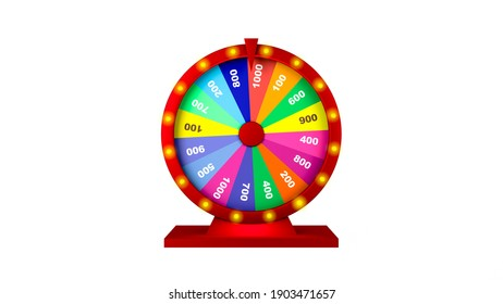 3d rendering, Realistic colorful mock up Casino or fortune wheel , isolated white background.