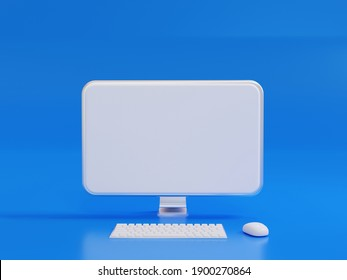 3D Rendering Realistic Computer LCD Monitor mock up with Blank or White Screen, Keyboard and mount  blue background or isolated For internet use