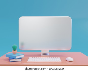 3D Rendering Realistic Computer LCD Monitor mock up with Blank or White Screen, Keyboard, mount with green cactus on the book on orange work table blue background For internet use