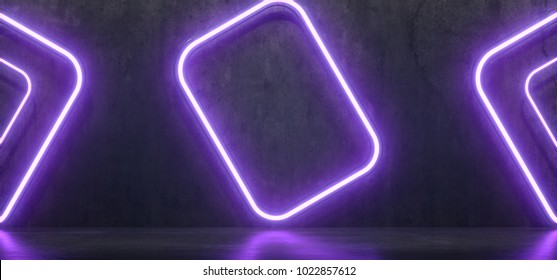 3D Rendering Of Realistic Concrete Room With Neon Lights