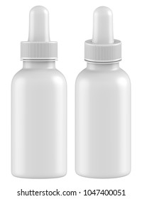 3D rendering Realistic empty dropper bottles mock up. Essential oil cosmetic products or medical dropper on white background